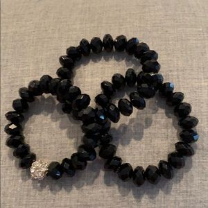 J. Crew Jewelry - Set of 3 stretchy black bracelets with gem